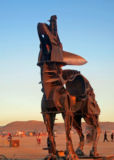 Coyote sculpture at Burning Man 2014.