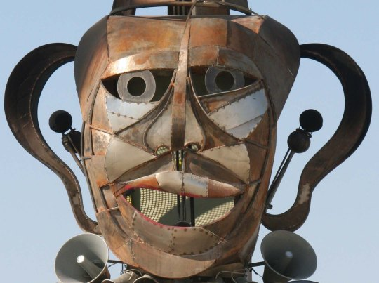 Burning Man masks come in all shapes and sizes. This 2014 sculpture was huge.