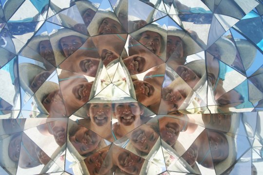 Burning Man has always had a carnival like atmosphere and lots of mirrors. This Kaleidoscope has captured lots of Peggys.