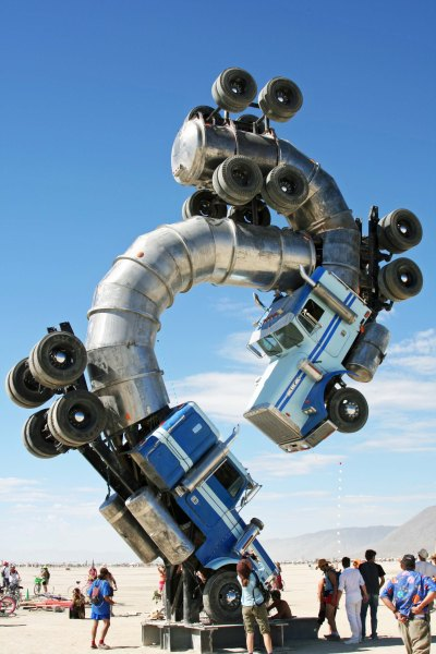 These two oil tankers welded together represented one of Burning Man's environmental themes.