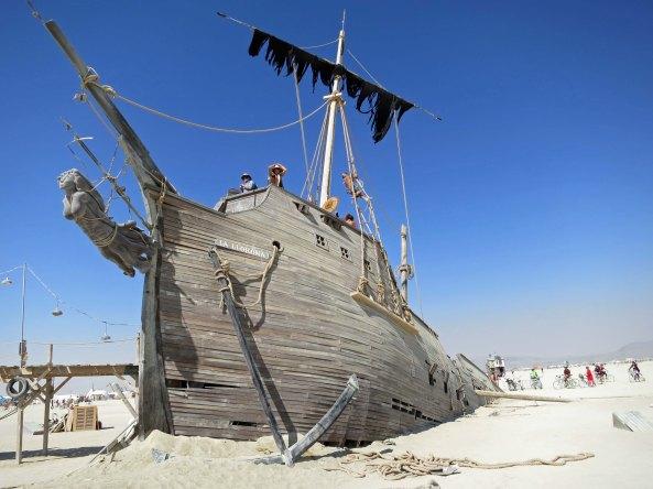 Burning Man sailing ship sunk in sand