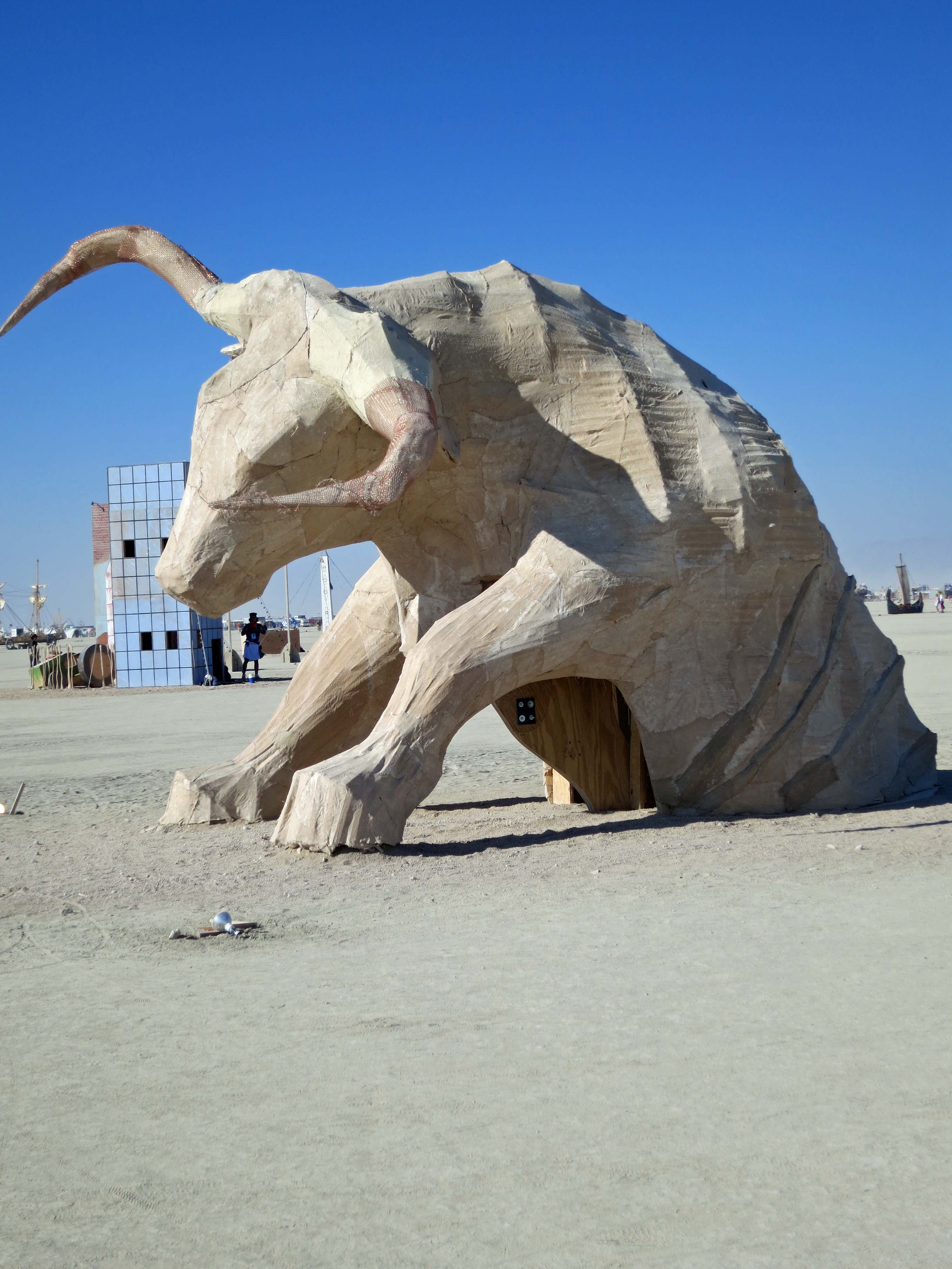 One year, regional groups sponsored art at Burning Man. This impressive bull came out of Texas.