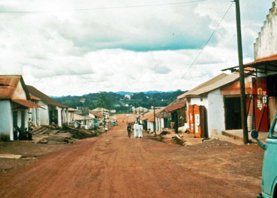 The main street of Gbarnga, Liberia in 1966 where I served as a Peace Corps Volunteer.