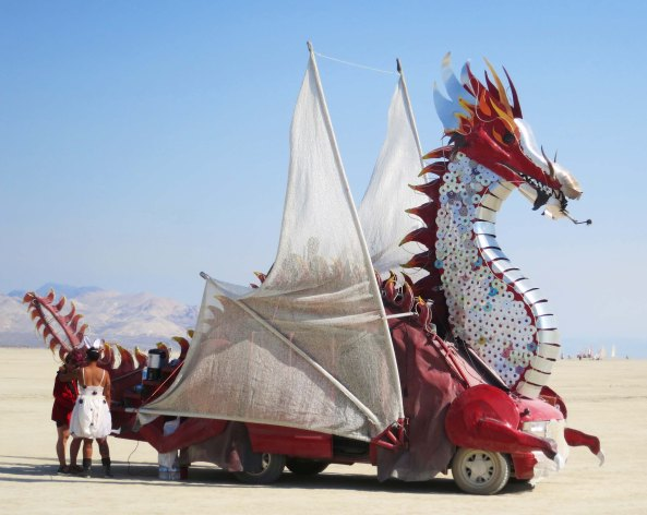 Fire breathing dragons are also perennial favorites at Burning Man.
