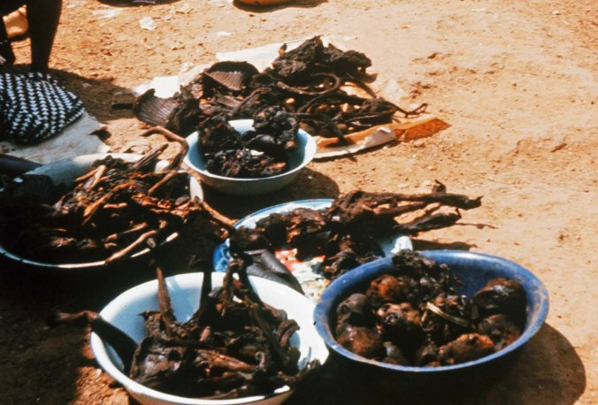 Ready to eat monkey meat in Ganta, Liberia.