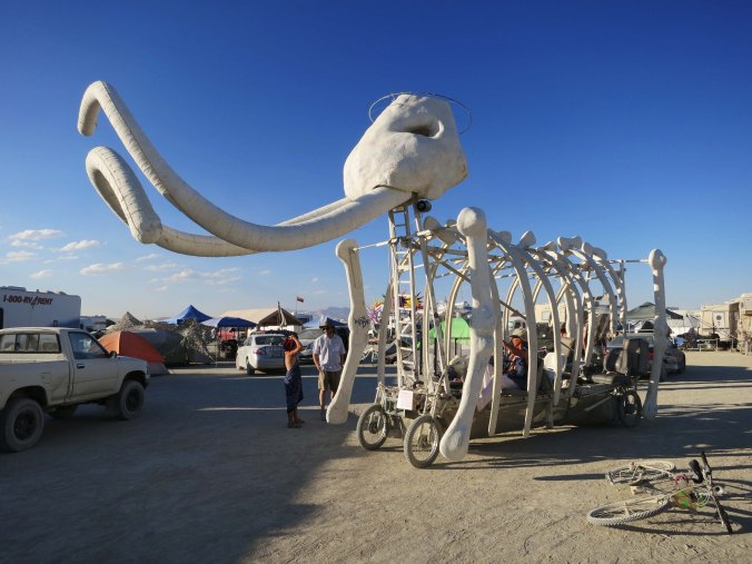 The tusks on they mammoth are what make this art car one of my favorite mutant vehicles at Burning Man. People sit inside the rib cage. The driver climbs into the head.