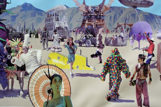 This photograph montage created by the Montage Camp is composed of a number of different photos taken at Burning Man. Take a close look. It is what you might see on a typical day.