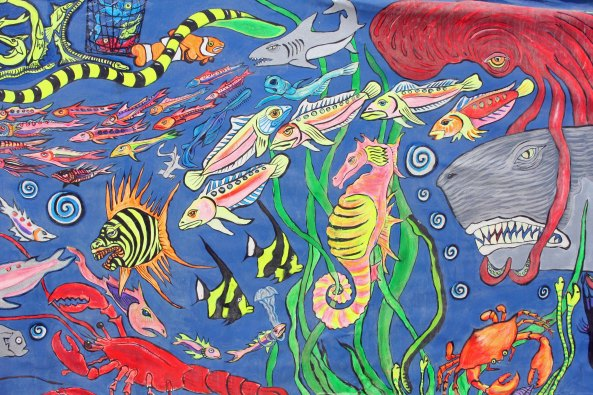 This underwater theme with its brightly colored creatures has always been one of my favorite Burning Man murals.