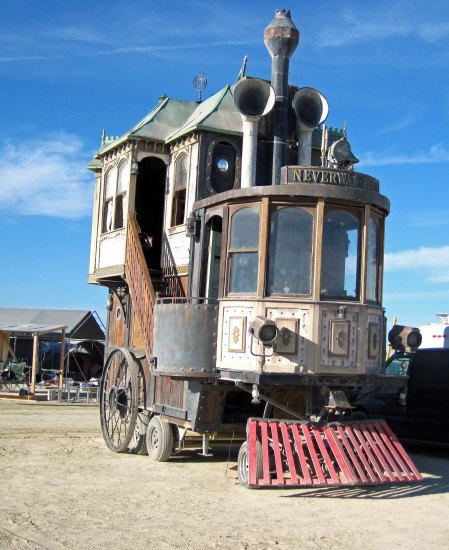 Never Was Haul resembles a Victorian House that has been converted to a steam engine train.