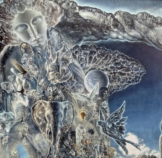 The detail on this painting featuring a goddess-like woman, elephant, hawks and other natural themes is incredible.