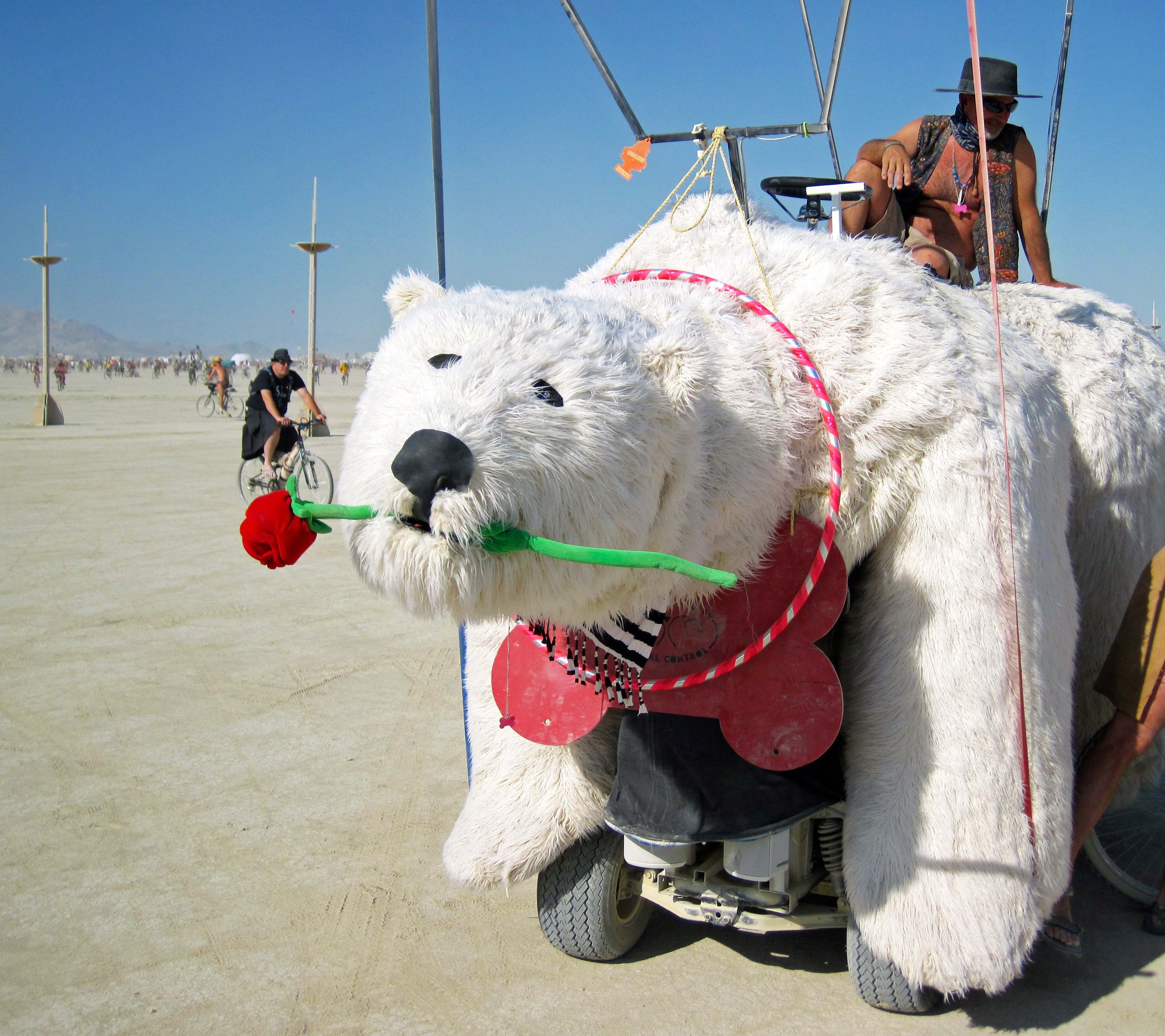 Smaller mutant vehicles often brim over with character, such as this polar bear with its red rose.