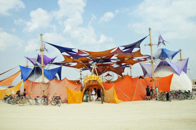 A number of impressive buildings including the Sacred Spaces building are found along the Esplanade at Burning Man.