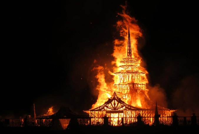 The Temple burns on Sunday Night. Unlike the Burning of the Man which is a bit on the rowdy side, Burners watch silently and respectfully as the Temple Burns.