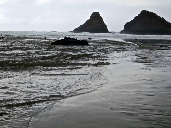 The tide rolls onto shore at Cape Cove on the Oregon Coast near Florence, Oregon.