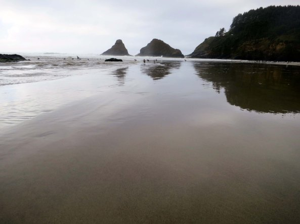 Low tide exposes the beach at Cape Cove off of Highway 101 on the Oregon Coast.