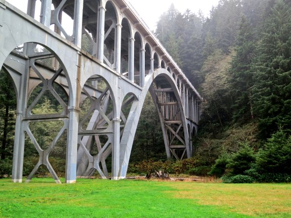 Cape Creek Bridge north of Florence, Oregon was designed by Conde McCollough and built during the early 1930s.
