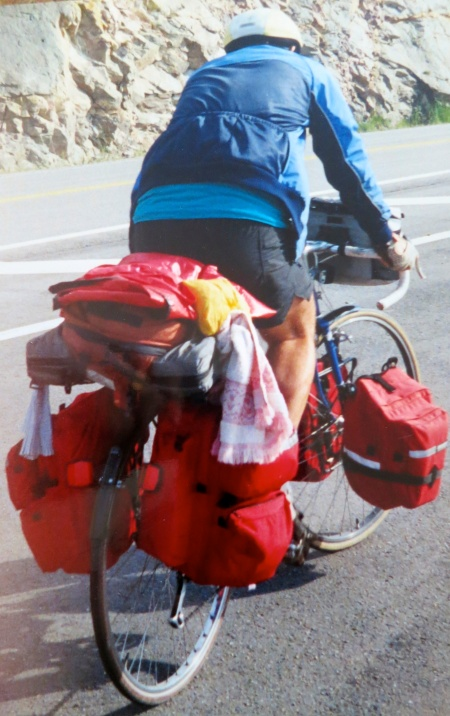 Here I am biking up a mountain in Nova Scotia with 60 pounds of gear.