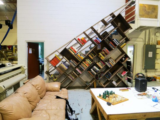 Strange book shelf arrangement at the Generator art warehouse in Reno, Nevada.