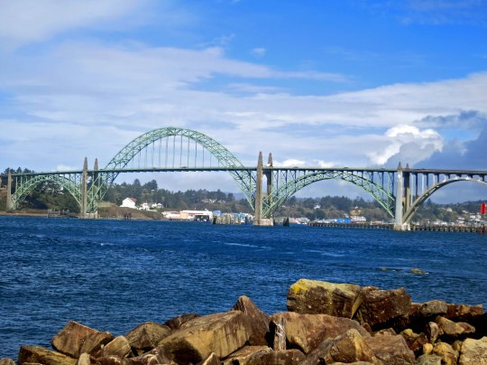 The Yaquina Bay Bridge on the Oregon coast designed by Conde McCullough.