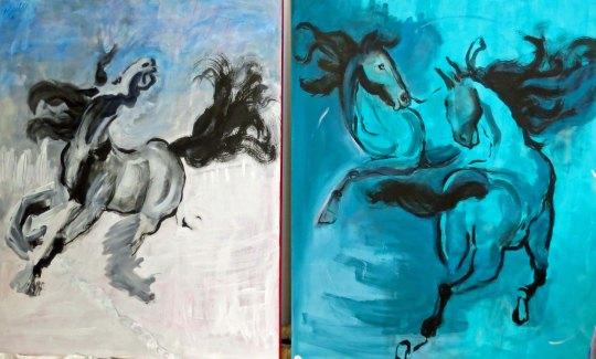 Paintings of horses at the Generator warehouse in Reno, Nevada.