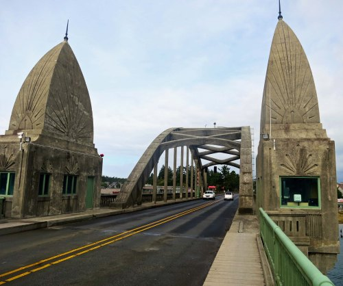 Suislaw Bridge in Florence Oregon across the Suislaw River