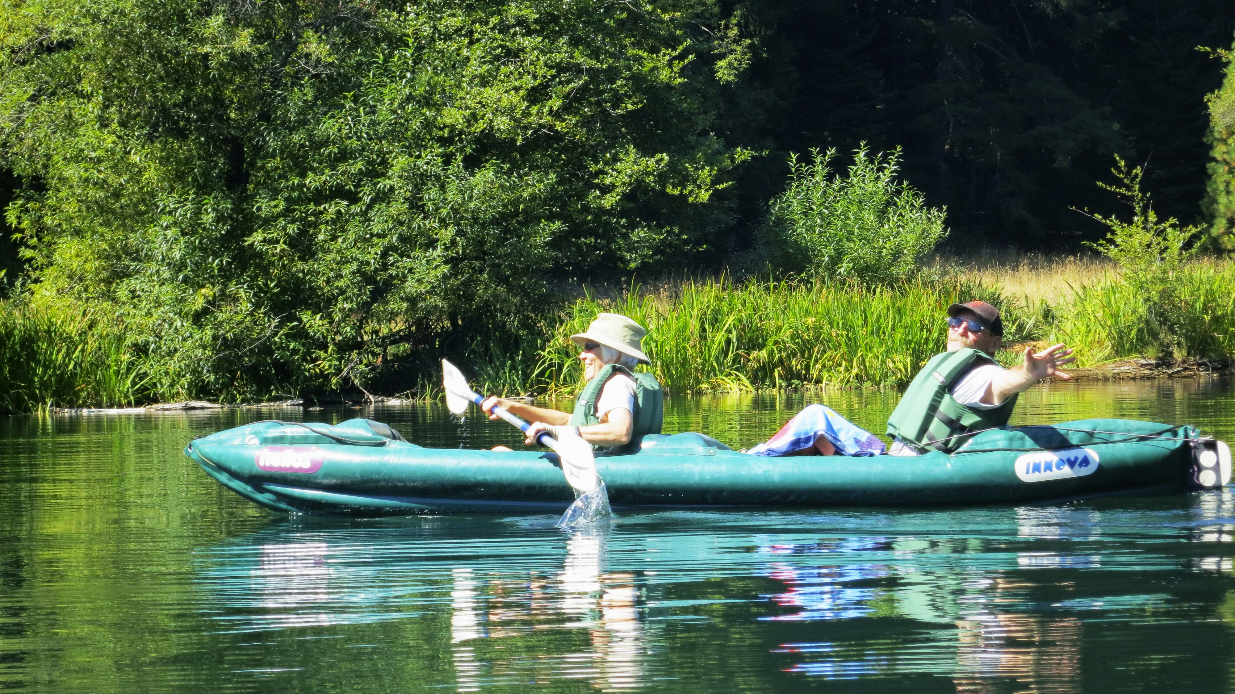 Once a year, the BSBC comes to our house in Oregon for 2-3 days. A couple of years ago we took them kayaking on Squaw Lakes. In this photo Ken Lake hides his paddle so it looks like his wife, Leslie, is doing all the work.