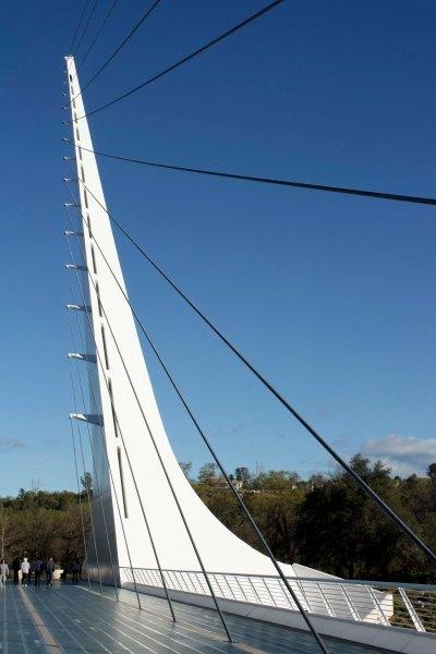 The Sundial Bridge in Northern California was designed by Spanish Architect Santiago Calatrava.