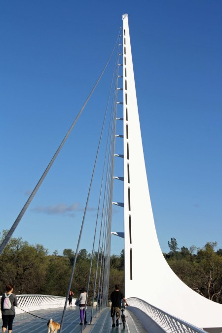Built to accommodate walkers, runners and bicyclists, the Sundial Bridge in Redding, California was constructed primarily with private funds.