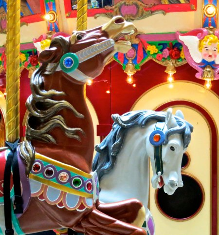 I was pleased to find a carousel with its horses eager to be ridden. Peggy loves these things. Had she been along, I probably would have been forced to climb on.