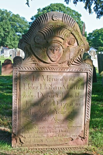 My mother's side of the family arrived in the 1630s as Puritans. This is the grave of an early Marshall in Windsor Connecticut where the family was settled by 1650.