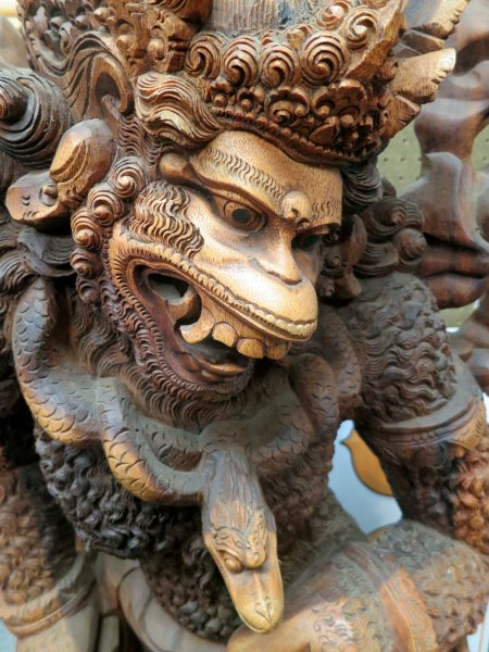 I was also impressed with this monkey king with his pet snake.