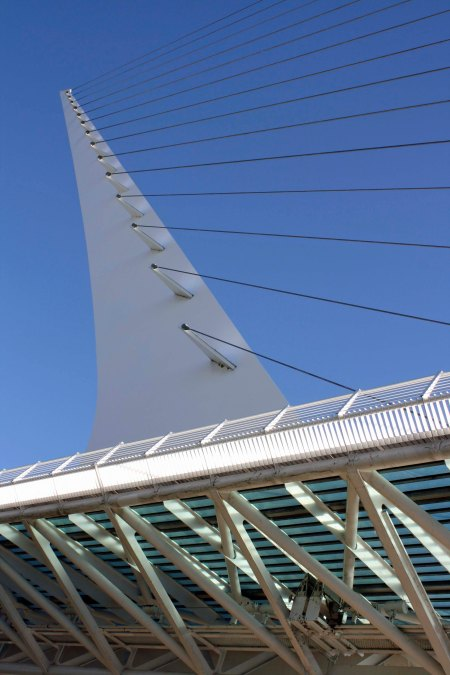 Sundial Bridge in Redding, California  photographed from beneath the deck.