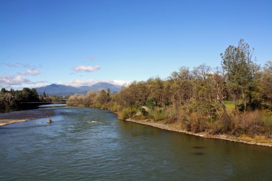View of Sacramento River from the Sundial Bridge in Redding California.