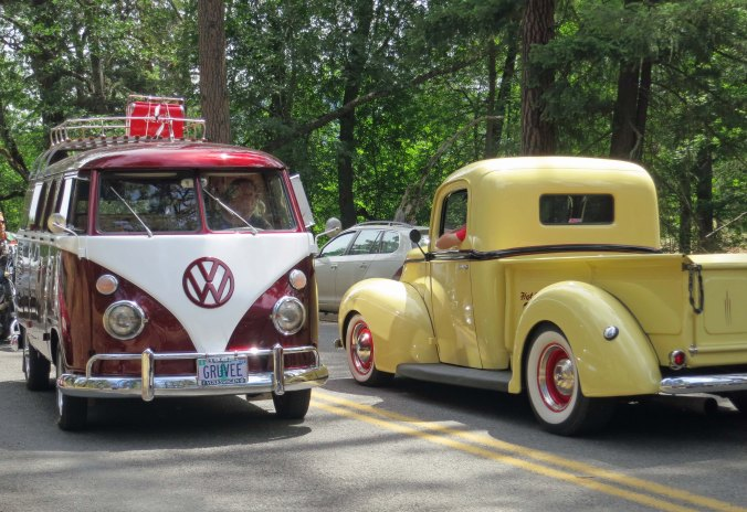 Mini-VW Van had it's adult equivalent, painted exactly the same. And yes the 200 yard parade goes in both directions.