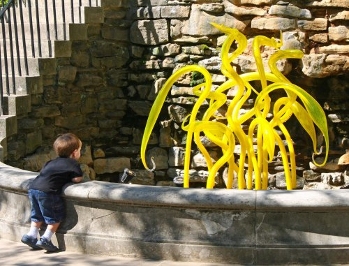 My grandson, who was two at the time, checks out one of Chihuly's sculptures. I wonder what was going through his mind?