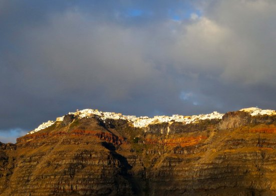 As we sailed away at sunset, we caught a final view of Santorini.