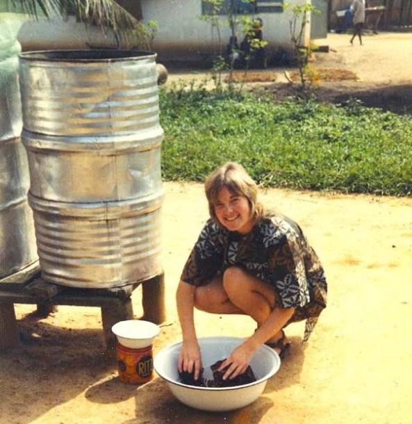 Laundry Day. Stephanie Vickers in her first month as a Peace Corps Volunteer in Liberia during 1971.