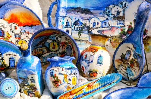 Normally I avoid tourist souvenirs, and I did this time. I did think these plates and vases did a good job of representing the color of Santorini.