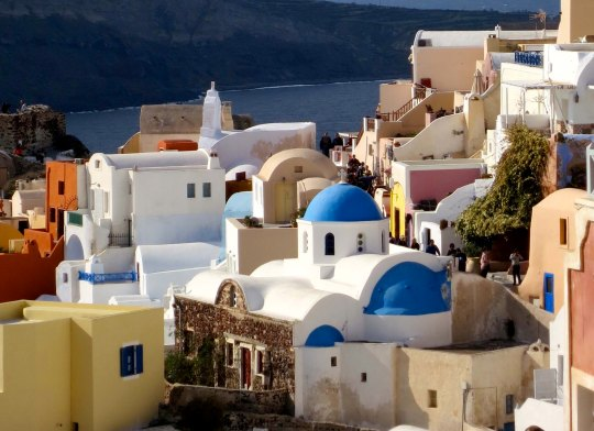 I really like the whites, pastels and bright blues of Oia. The blue dome is part of a church. NEXT BLOG: How 25 cents saved one million lives.