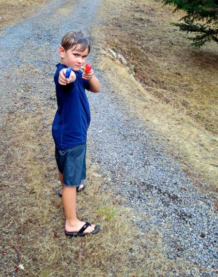 Then imagine five grandsons, aged two to ten, with water guns.
