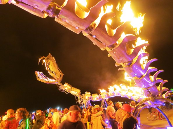 Burning Man dragon created by Flaming Lotus Girls for Burning Man.