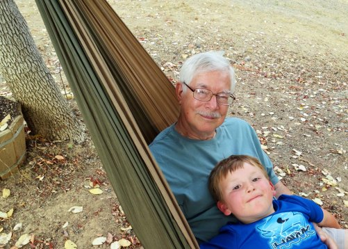 Chris found hanging out in a hammock with Grandpa and sharing secrets to be quite entertaining until the wasp stung Grandpa. Some new word were learned.