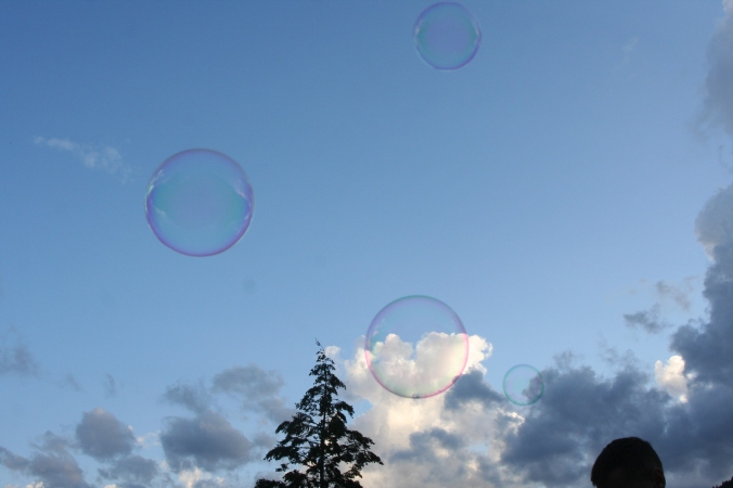 Bubbles escape from the fray.