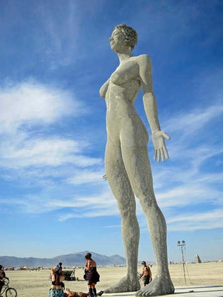 Sculptures come in all sizes at Burning Man. From this giant woman...