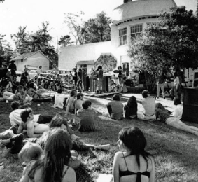 The Grateful Dead and other bands such as Quick Silver and Jefferson Airplane would set up in front of the Burwell Mansion and play free music for hours on end.