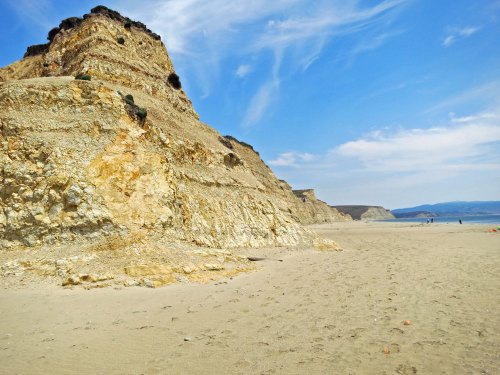 These distinctive cliffs at Drakes Bay in Point Reyes National Seashore were used to help identify where Sir Francis Drake landed in