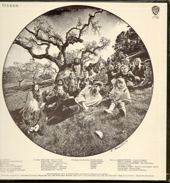 The Grateful Dead leased Olompali for the months of May and June in 1966 and returned several times over the next three years. In 1969 they returned for a photo shoot for the back cover of their album, Aoxomoxoa.