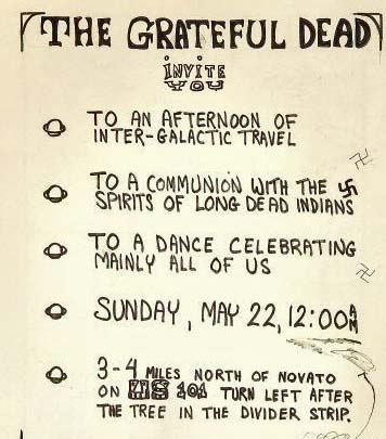 The original invitation to the Grateful Dead's party. The Swastica,