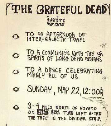 The original invitation to the Grateful Dead's party. The Swastica,