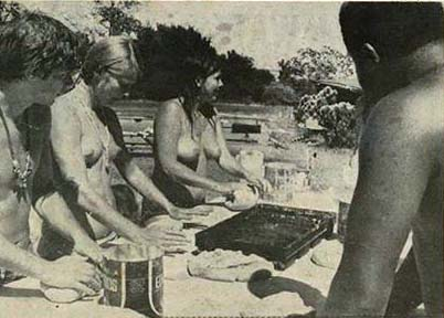 Chosen Family members making bread at Rancho Olompali that will be distributed by the Diggers for free in San Francisco. Clothing was optional. (Photo from the Berkeley Barb.)